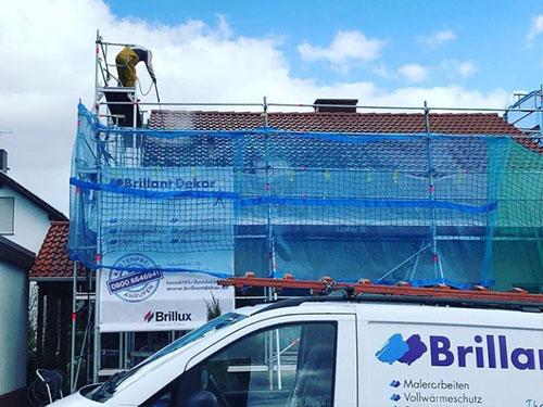 Dachbeschichtung bei der Arbeit - vorh nachher